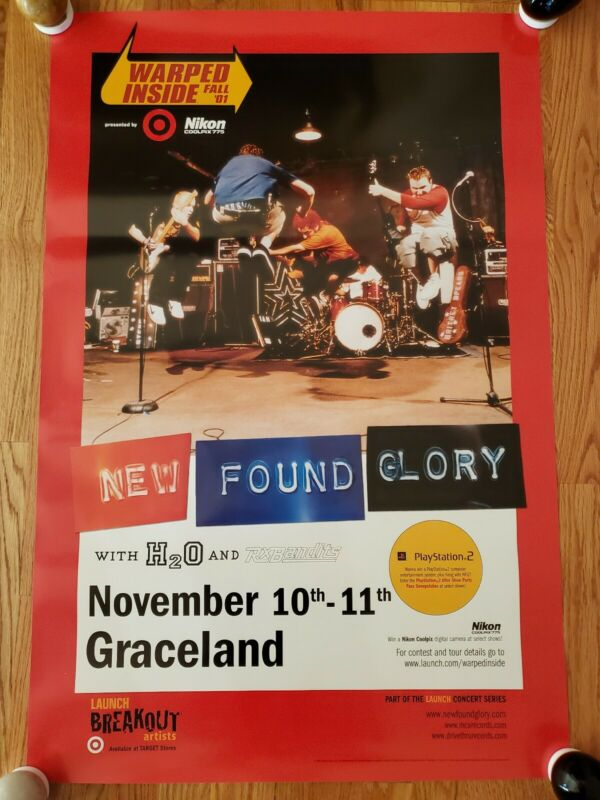 NEW FOUND GLORY - 2001 Warped Inside Breakout Artist Concert Poster PROMO ONLY!