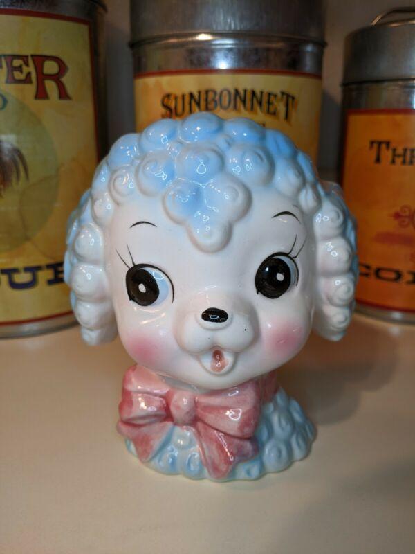 Inarco E-3135 Blue Poodle Head Vase