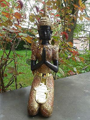 Thai Buddha Tempelwächter kniend braun gold Figur Feng Shui Statue 40 cm NEU