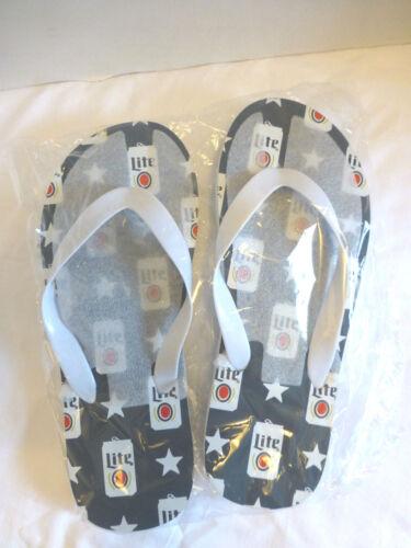 Miller Lite Beer Sandals Flip Flops Unisex 9 1/2 NEW Can Impressions