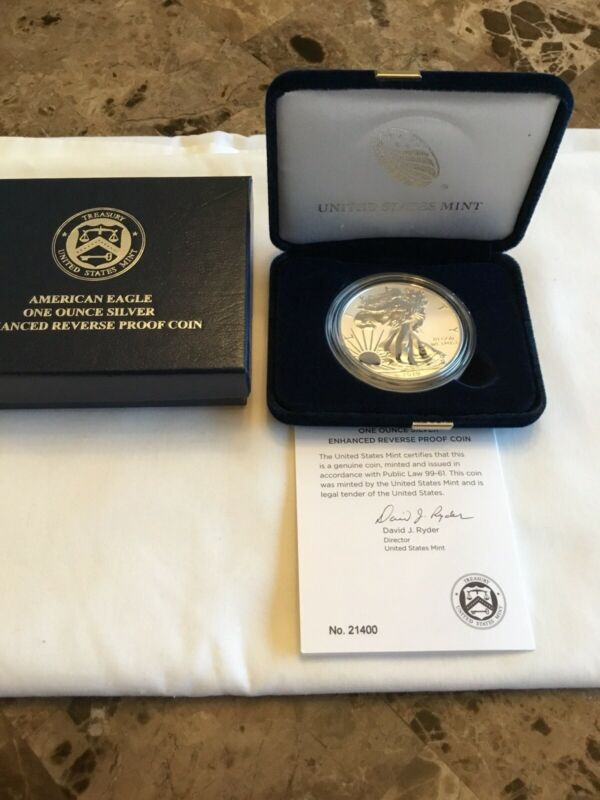 2019-S American Eagle One Ounce Silver Enhanced Reverse Proof Coin COA 21400