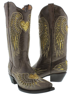 Cowgirl Formal Wear (Womens Brown Gold Heart Sequins Leather Wear Cowgirl Boots Pointed)
