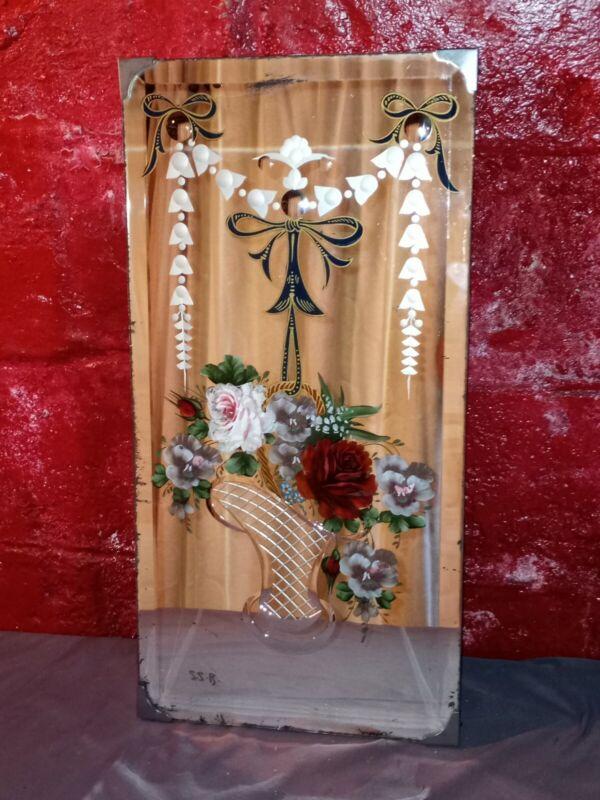 Antique Art Deco Etched Reverse Painted Floral Mirror