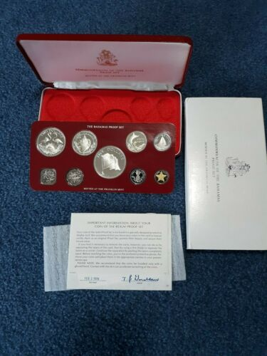 BAHAMAS 1976 9-COIN PROOF SET ORIGINAL MINT PACKAGING    4 COINS ARE SILVER
