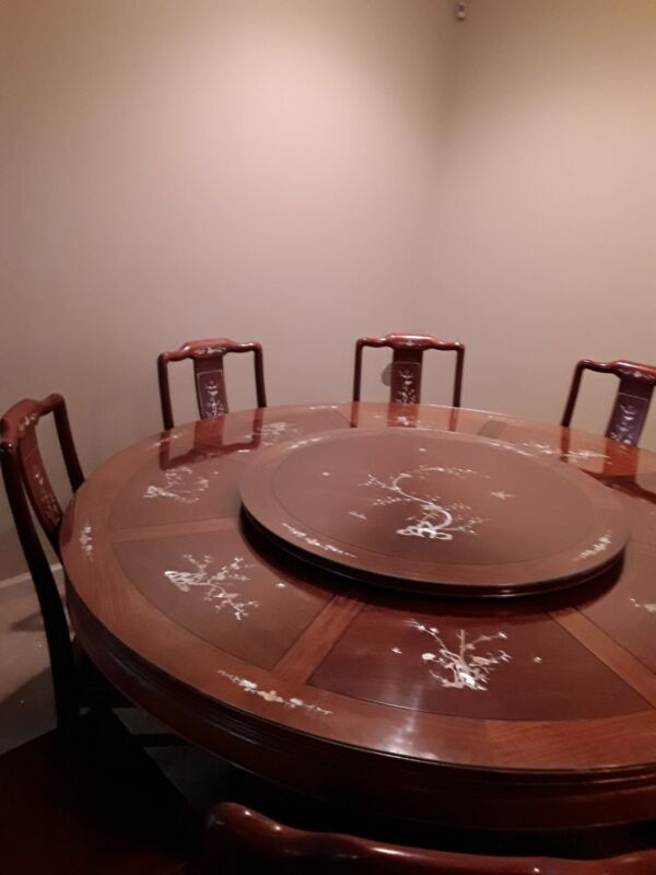 """Chinese Dining Table 72"""" Vintage Hand Carved Rosewood,Mother Of Pearl decoration"""