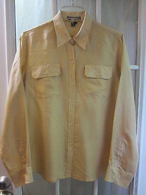 Lauren Ralph Lauren Khakie 100% Silk Button Up Point Collar Blouse Women 10 **