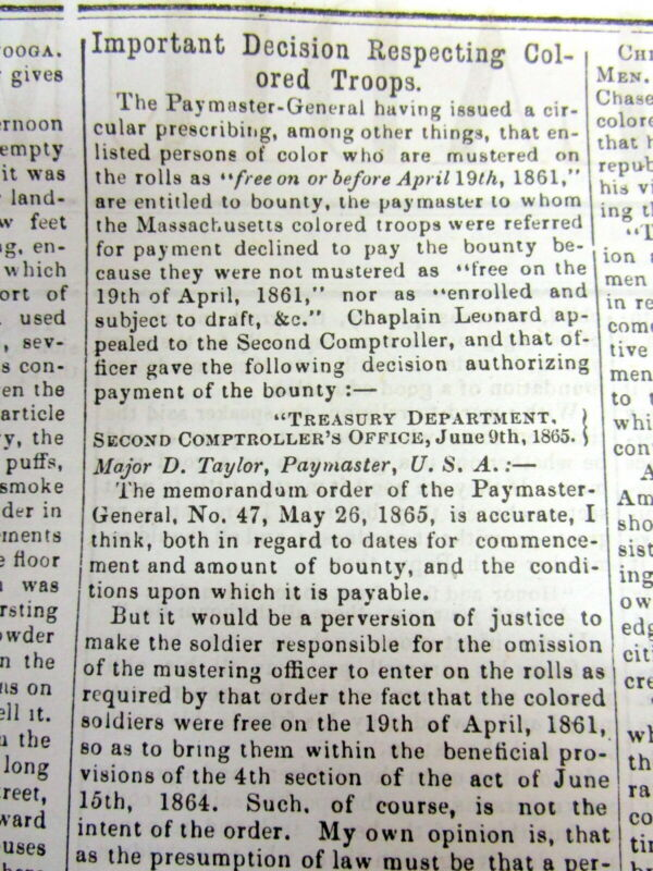 1865 Civil War newspaper NEGR0 TROOPS to be PAID money AT SAME RATES as WHITES