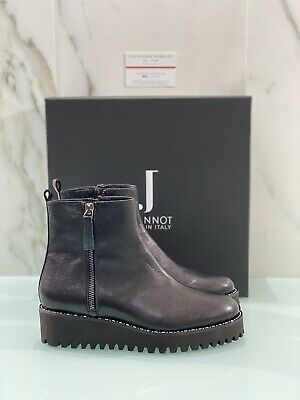 Ankle Boot Jeannot Woman Black Leather Wedges 76300 Made IN Italy 36