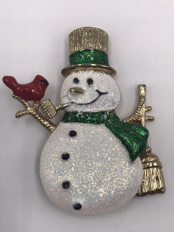 "Brooch Snowman Cardinal Enamel Glitter Holiday Winter Gold Tone 2""x 1 1/2"""