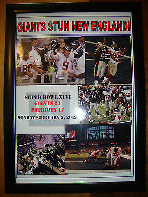 New York Giants 21 New England Patriots 17 - 2012 Super Bowl - framed print