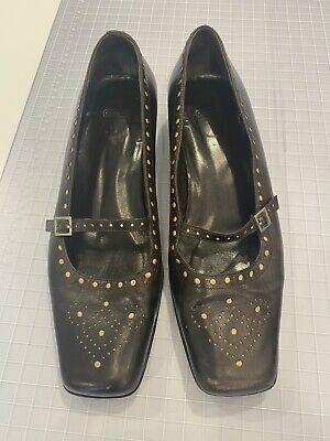 Coach Womens Brown Leather Mary Jane Shoes Square Low Flat Heel Size US 7.5 B Brown Leather Mary Jane