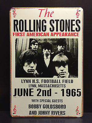 THE ROLLING STONES FIRST US CONCERT POSTER 1965 METAL SIGN WALL DECOR 30x40 CM