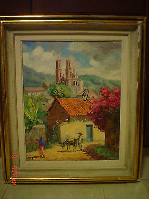 Mexican Oil Painting Signed Maya Taxco City Mexico Landscape Cathedral Cityscape