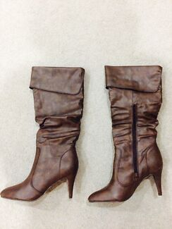 Brand New Women's Heel Knee High Boots - Brown Albert Park Port Phillip Preview