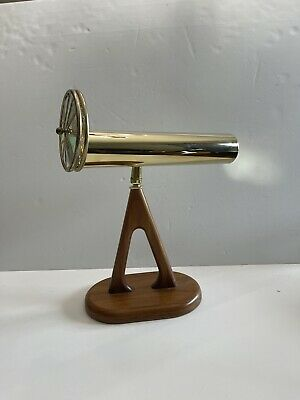 "Chesnik Scope Dual-wheeled Brass Kaleidoscope on Wooden Stand 10 1/2"""