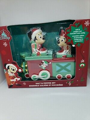 Disney Parks Mickey Minnie Mouse Christmas Holiday Train Salt Pepper Shaker Set