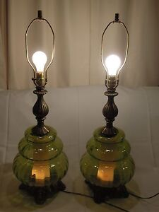 Ef ef lamp ebay 2 vtg midcentury retro 1970 ef ef industries green glass table lamps no shade mozeypictures Choice Image