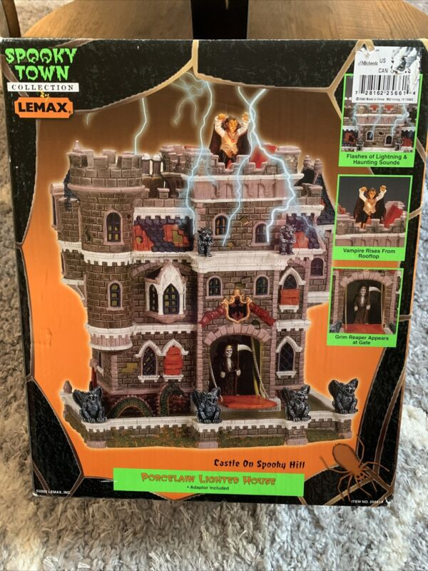 Lemax Spooky Town Halloween Castle On Spooky Hill in Box Tested Works