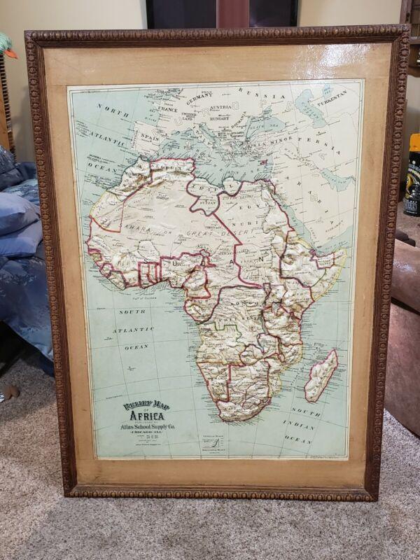 Central School Supply House Relief Map Africa Large Oak Egg & Dart Frame