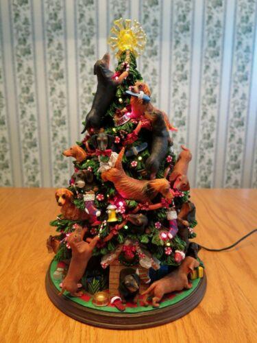 Vintage Danbury Mint Dachshund Lighted Christmas Tree w/Plug-In Retired