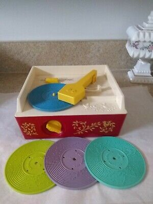Vintage 1971 FISHER PRICE 995 Music Box RECORD PLAYER Wind Up Works 4 Records