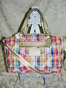coach satchel bag outlet  coach daisy madras large