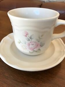 Flat cup and saucer set by Pfaltzgraff