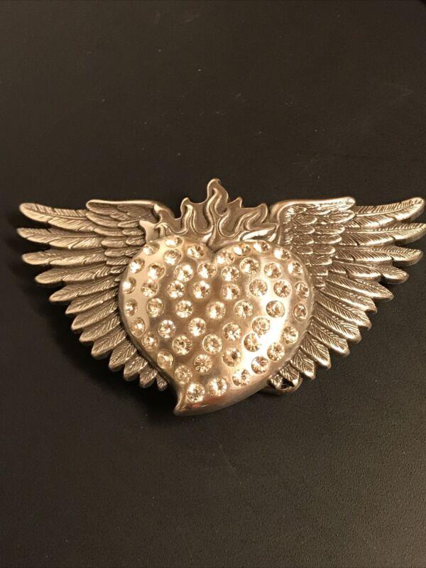 Nocona Belt Buckle Silver Wings, Flames & Heart W/ Rhinestones