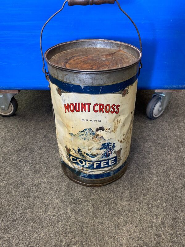 Rare Antique Large 10lbs Mount Cross Brand Graphic Coffee Tin Can, Rough , Htf