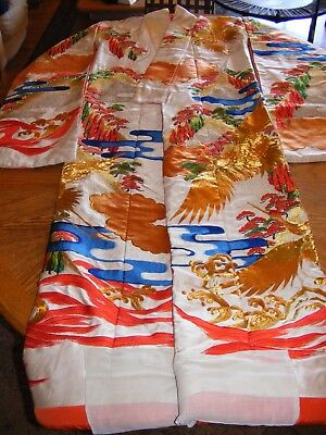 Vintage Japanese  Kimono Robe - Cranes, Clouds, Trees  - Orange,Blue, Green Gold for sale  Surprise