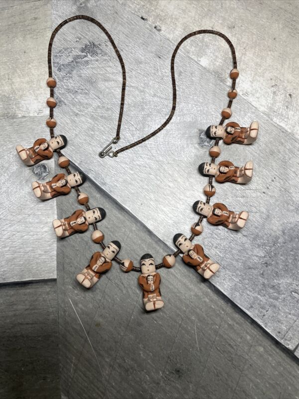 Native American Storyteller Necklace Jemez Handmade Clay by Angel Coriz