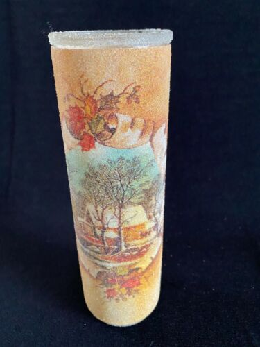Vintage Sugar Frosted Pillar Candle Glass Holder Winter Snow Scene House River