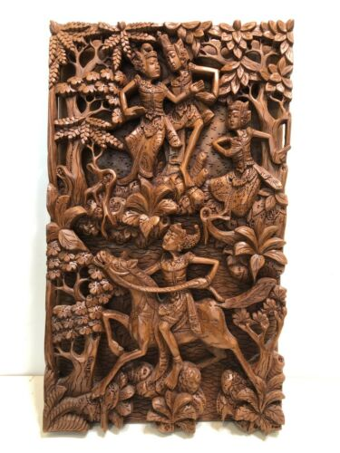 """VTG Balinese Indonesian Art Hand Carved Wood Relief Wall Panel, 11 1/4"""" x 20"""""""