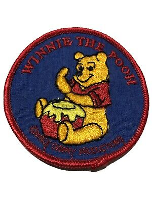 VINTAGE WALT DISNEY PRODUCTIONS Winnie The Pooh PATCH Red/Blue - Vintage New