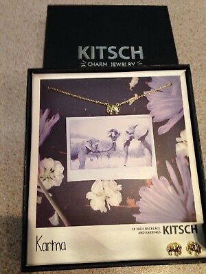 Kitsch Charm Jewelry Elephant Necklace and Earrings - New Unwanted Gift for sale  Shipping to South Africa
