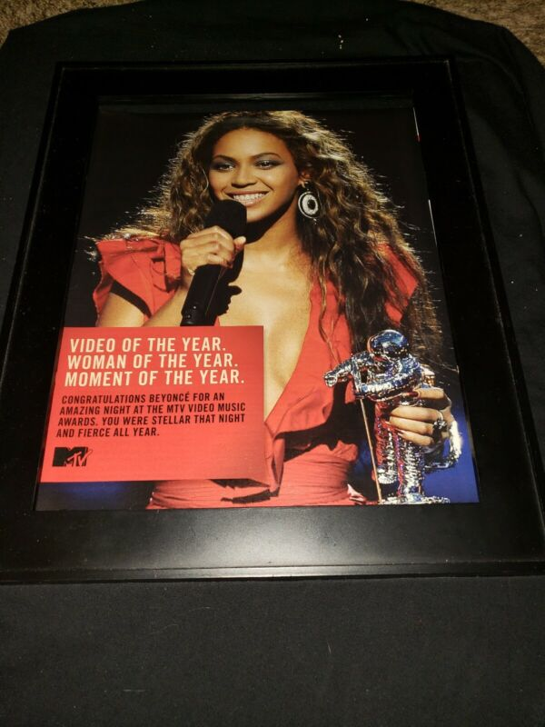 Beyonce Woman Of The Year MTV Rare Original Promo Poster Ad Framed!