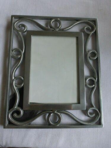 """Vtg Cast Aluminum Sanded  Ornate Picture Frame  5"""" x 7""""  Photo  80s 90s"""