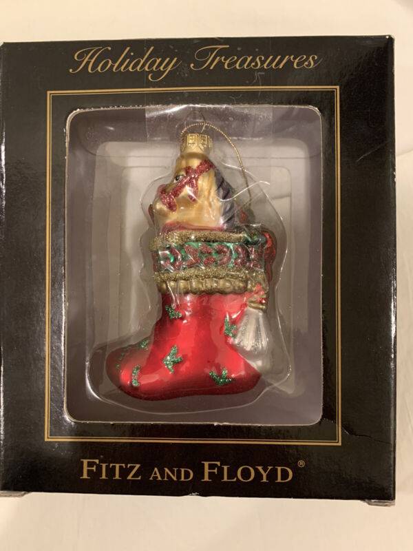 Fitz and Floyd Glass Ornament Greg Stocking Horse Presents Gifts~NEW in Box