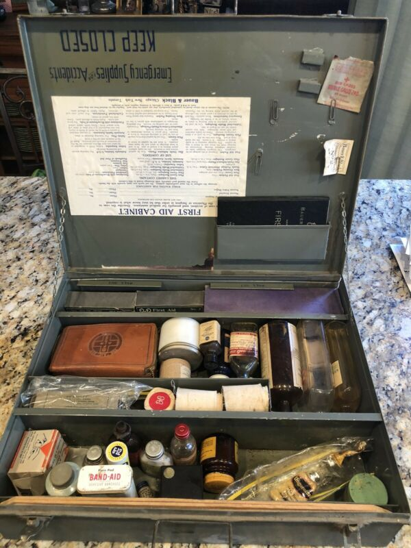 First Aid Kit Box Bauer & Black Vintage Metal Box with contents WWII Era