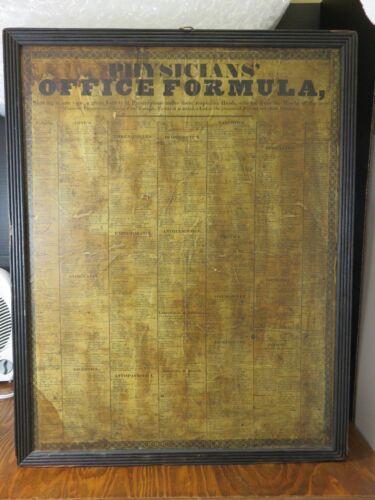 Antique Vintage Framed Physicians Office Formula Drug Prescription Doctor Poster