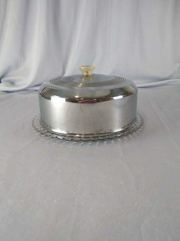 Vintage Glass Cake Plate with Stainless Steel Dome Cover