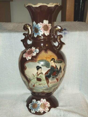 "Vintage Japanese 12"" Double Handle Painted Pictures Porcelain Pottery Vase"