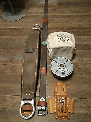 Buckingham Linemans Safety Climbers Climbing Belt Tool Holster Pouchwire Reel