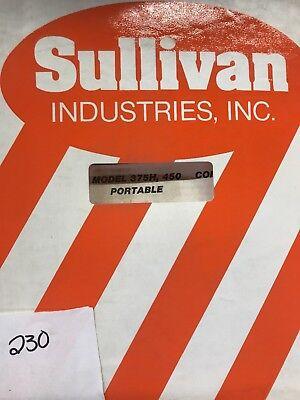 Sullivan Operator Part List Manual 375h450 Compressor Portable