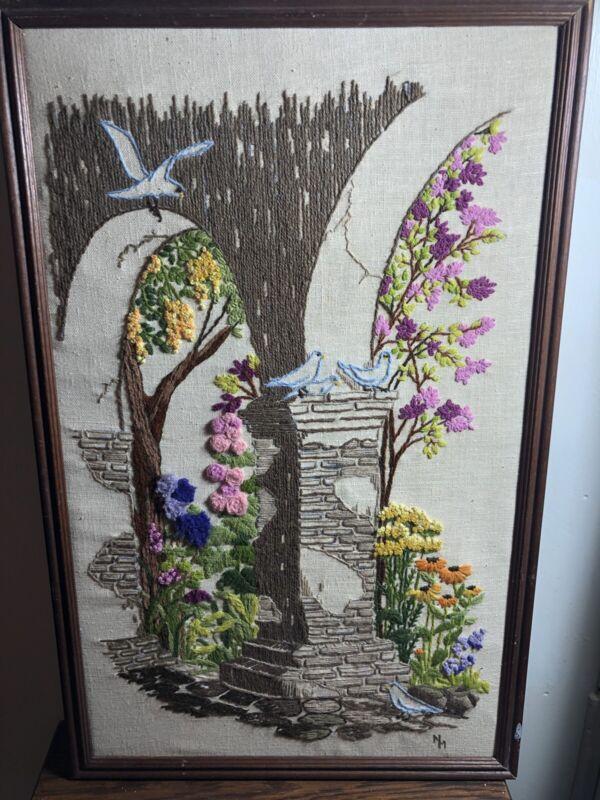 VTG 15 x 24 Framed Handmade CREWEL EMBROIDERY Picture 3-D Flowers Garden Scene