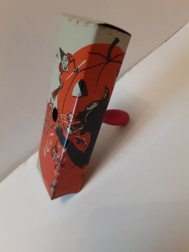 RARE Old Vintage Halloween Tin Noisemaker Cat Witch JOL Bugle Co. 1920