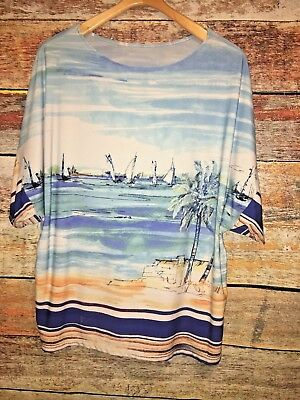 Sailing sailboats Italy Womens Top Shirt Blouse Plus size 2X XXL Mediterranean