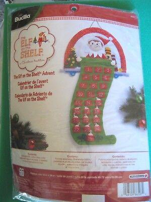 """Bucilla Elf On The Shelf Christmas Advent Calendar Felt Applique Kit 18"""" X 24"""""""