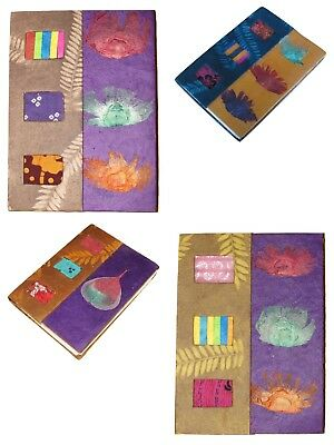 Nepalese Ethnic Handmade Paper Notebook Diary Journal Print Leaf inlay Colourful