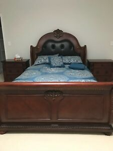 Beautiful queen bed with mattress and side table